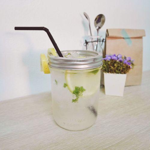 Lemonade in jar on table