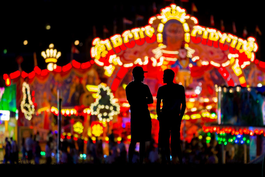 Düsseldorf, Germany Deutschland Düsseldorf Kirmes NRW Celebration Focus On Foreground Glowing Illuminated Lighting Equipment Men Multi Colored Night Outdoors People Rheinkirmes Standing Two People HUAWEI Photo Award: After Dark