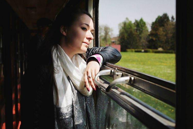 Selfportrait Girl EyeEmNewHere Self Portrait Nature_collection Nature Travel Travel Destinations Train Window Women Shadow Spring Springtime Czech Republic Grass Landscape Trees Wildlife Freedom Happiness Beauty In Nature