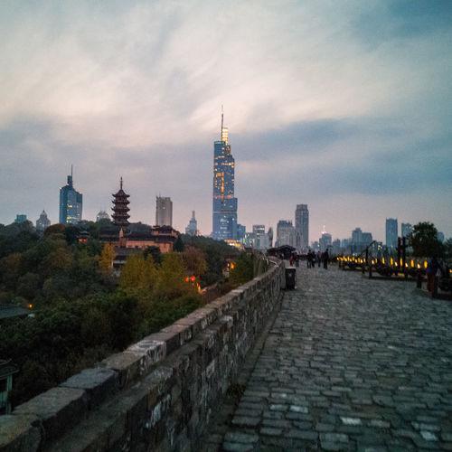NanKing China Nanking 南京 鸡鸣寺 台城 Urban Skyline Illuminated Skyscraper Sky Architecture