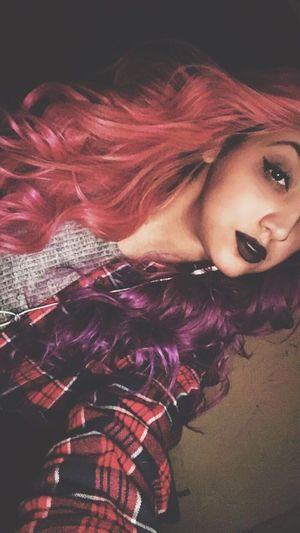 Feeling very 1994 💀 Today's Hot Look Hair Purple Hair Pink Hair Pink And Purple Hair That's Me Makeup Snapchat Girl Lovely