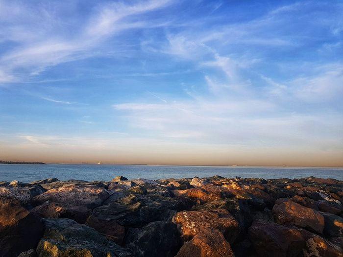 UAE United Arab Emirates Sharjah Sea City Beach Cityscape Astronomy Sunset Blue Horizon Low Tide Sky