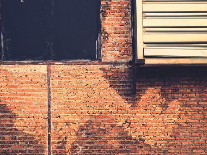 Window on brick wall of building