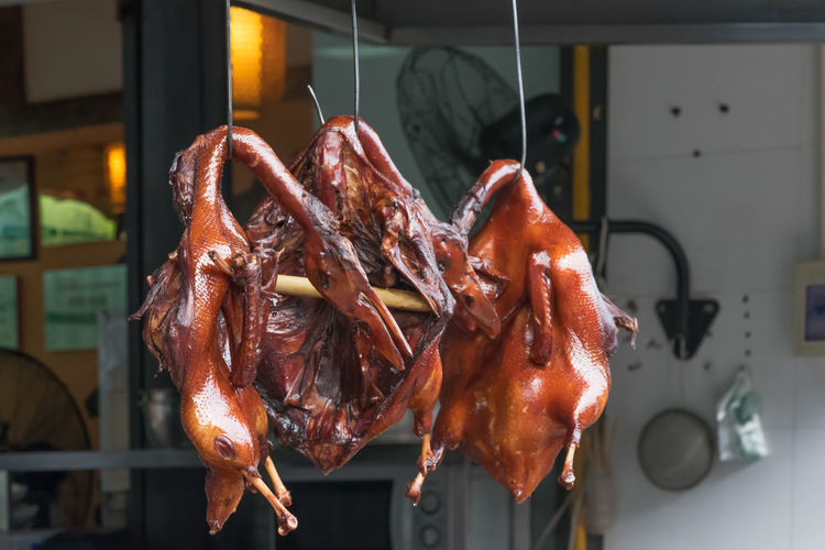 Close-up of roasted ducks