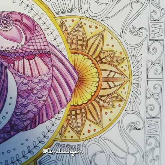 "Johanna Basford "" Lost Ocean "" my first try! Mein erster Versuch. Enjoying Life Ausmalen Johannabasford Book Selfmade Lost Ocean Coloring Mandalas!  Coloringbook Colorful"