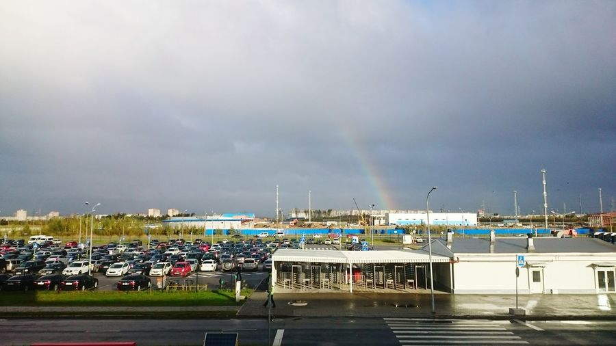 Working day. Rainbow. Sky Cloud Cloud - Sky Transportation Outdoors Day First Eyeem Photo Street Light Road Cloudy