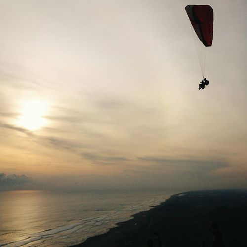 Low Angle View Of People Paragliding Over Beach During Sunset