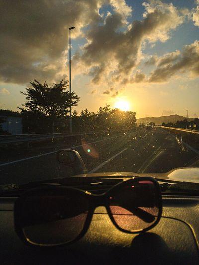 Sunglasses Car Sunset Sky Transportation Way To Go Home