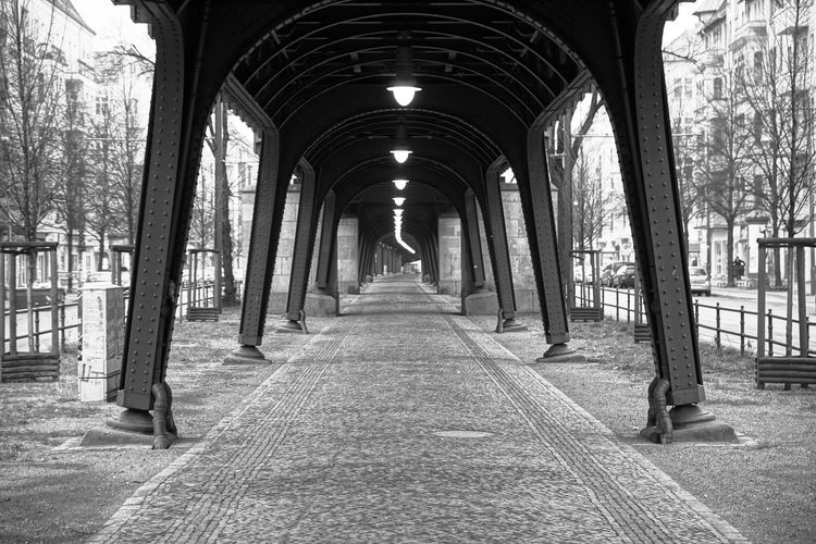 light way ... Architectural Column Architecture Archway Berlin Black & White Built Structure Corridor Diminishing Perspective In A Row Indoors  Prenzlauerberg Streetphoto_bw The Way Forward Urbanphotography Vanishing Point Viaduct Viadukt
