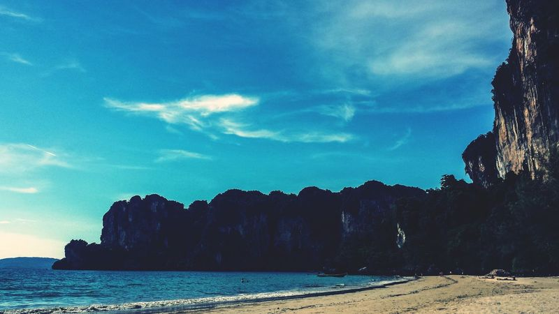 Landscape Railay Beach Cliffs Krabi Thailand Southern Thailand Andaman Sea Ocean Afternoon Outdoors Water Southeast Asia ASIA Blue Sky Shadow Miles Away Lost In The Landscape