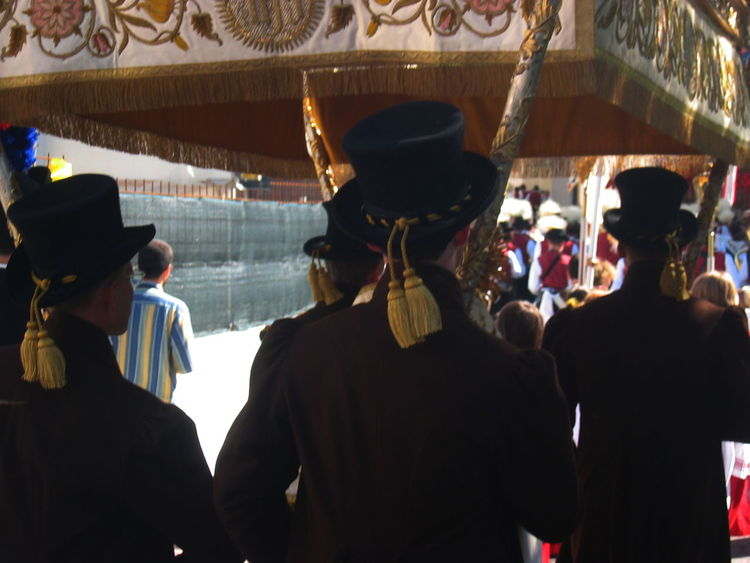 Arts Culture And Entertainment Men Procession Real People Rear View Religious Feast Südtirol Traditional Costumes