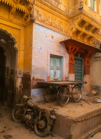 Rustic Old Motorbike Old Buildings Colours