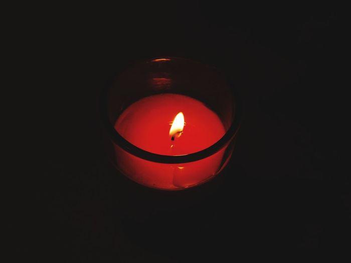 Flame Candle Burning Heat - Temperature Illuminated Glowing Black Background
