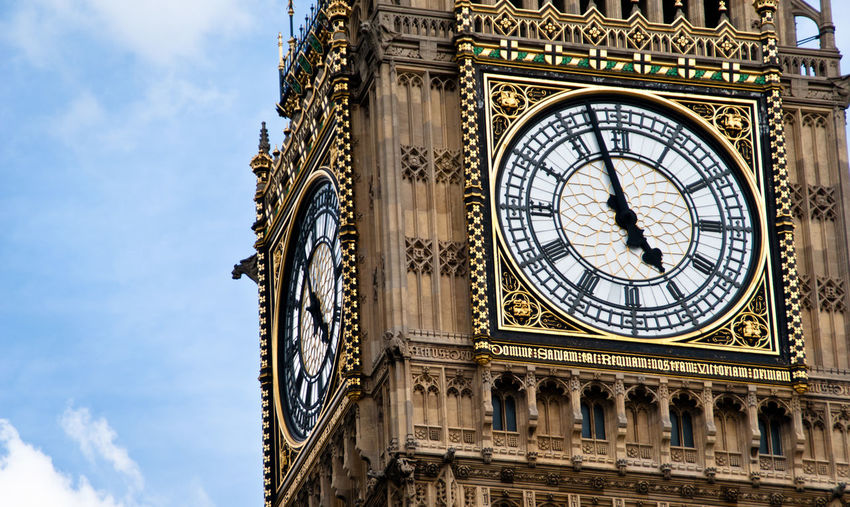 Architecture Big Ben British Parlament Building Exterior Built Structure City Clock Clock Face Clock Tower Cloud - Sky Clouds And Sky Cultures Day History Hour Hand Low Angle View Minute Hand No People Outdoors Sky Time Travel Travel Destinations