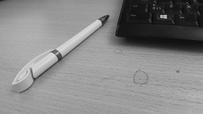 Hi! Hows your day? I amAt Work Daydreaming. Check This Out Taking Photos Workdesk Desk Pen Keyboard Coffeestain Bnw_collection Blackandwhite Photography Coffee Black And White Bnw_captures My Student Life Have A Nice Day♥