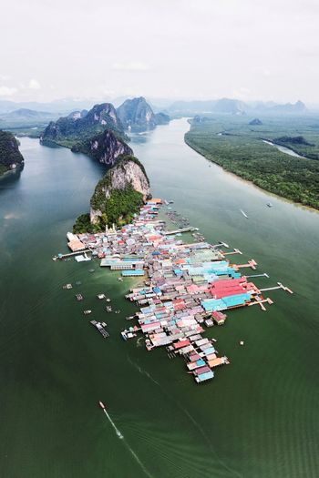 Koh Panyi. IG @noeldxng Ao Phang Nga National Park Koh Panyi Dji Dji Mavic 2 Pro Thailand Drone  Village Community Culture Fishing Village Mosque Architecture Island Thailand Ao Phang Nga Water Sea Nautical Vessel Beach Aerial View High Angle View Sand Sky Horizon Over Water 17.62°