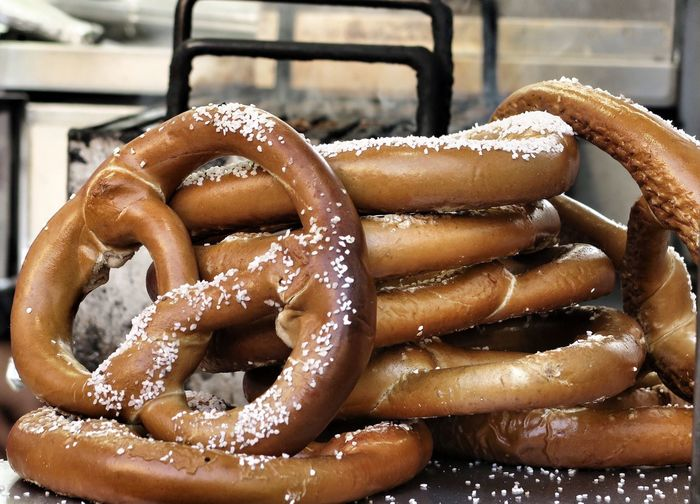 Close-up of pretzels