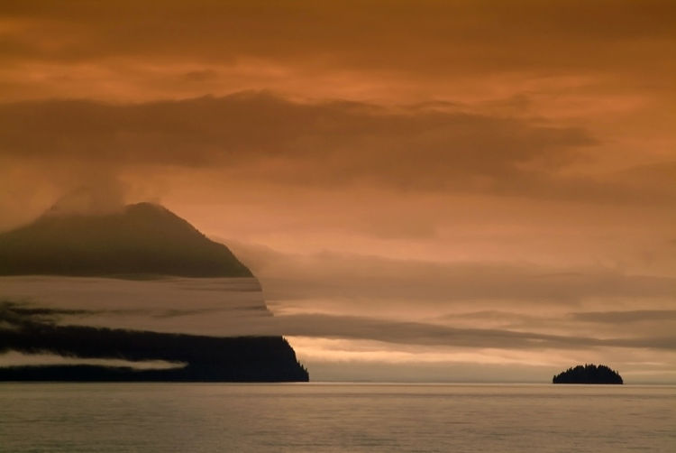 Southeast Alaskan Islands. Sunset ion a Southeast Alaskan boat trip. Travel Travel Photography Traveling Trees USA Alaska America Beauty In Nature Forest Landscape Nature No People Ocean Outdoors Scenics Sea Sea And Sky Seascape Sky Southeast Sunset Tranquil Scene Tranquility Travel Destinations Water