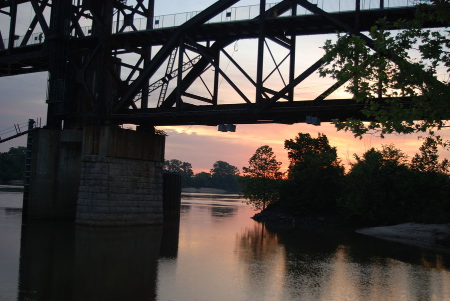 EyeEm Selects Bridge - Man Made Structure Reflection Water River Sunset Silhouette Tree Built Structure Architecture Travel Destinations Outdoors Landscape Sky No People Nature Day Watermill City Little Rock, Arkansas Arkansas River