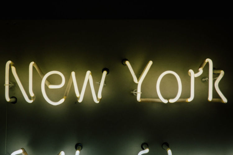 Text Western Script Communication Illuminated Indoors  No People Night Close-up Capital Letter Glowing Studio Shot Positive Emotion Lighting Equipment Single Word Business Sign Board Light - Natural Phenomenon Black Background Message New York Neon Sign