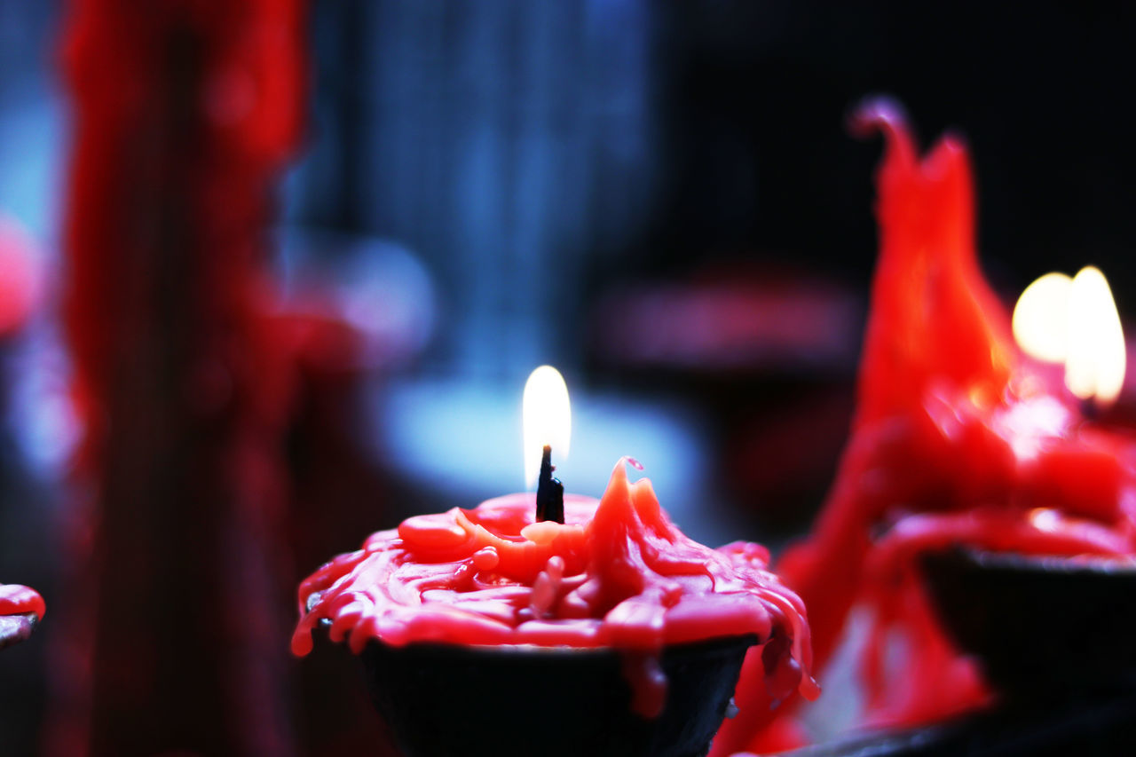 flame, burning, fire, candle, fire - natural phenomenon, heat - temperature, red, illuminated, close-up, focus on foreground, glowing, no people, indoors, nature, wax, religion, celebration, spirituality, belief, food and drink, melting, temptation