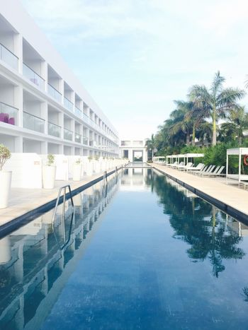 Tree Reflection Water Sky Swimming Pool Architecture Day Nature No People Outdoors Adults Only Mexico Vacation Tranquil Scene Resort Resort Hotel