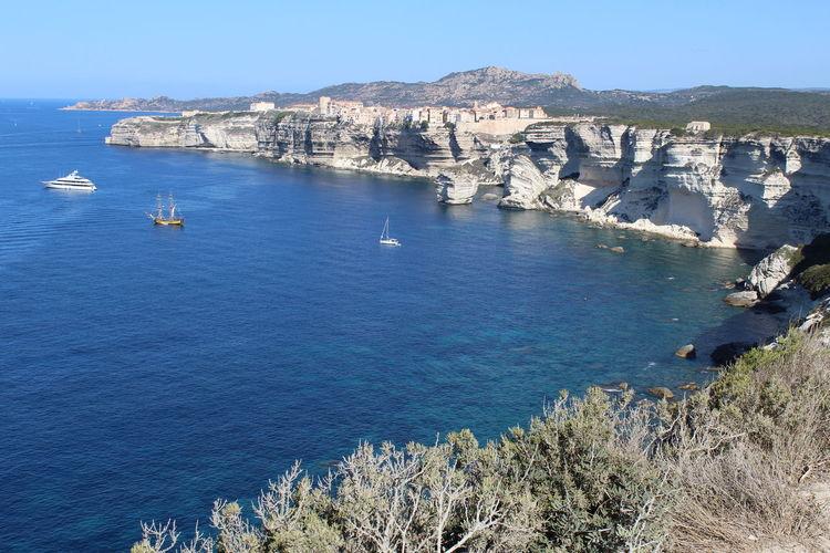 Scenic view of sea seen from cliff at bonifacio