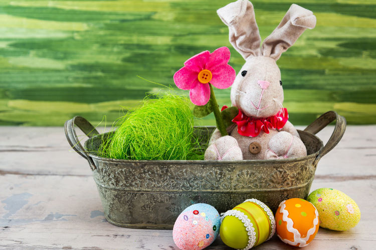 Easter Easter Egg Easter Ready Representation Stuffed Toy Toy Art And Craft Still Life No People Food Holiday Creativity Close-up Easter Bunny Multi Colored Human Representation Focus On Foreground Day Plant