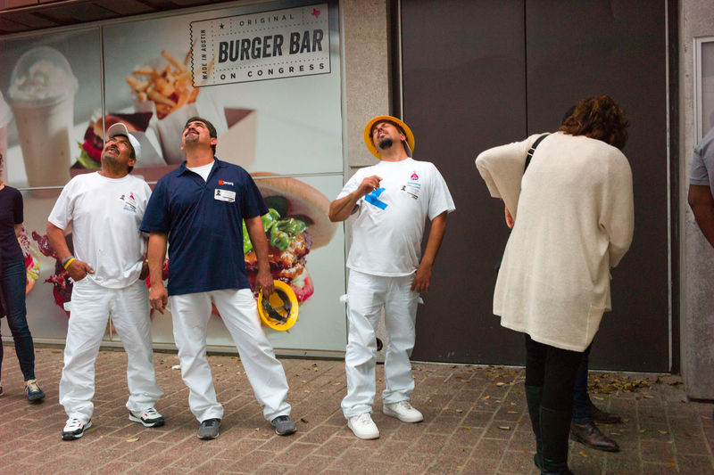 Austin Texas Candid Construction Worker Downtown Austin Hard Hat Men Public Streetphotography
