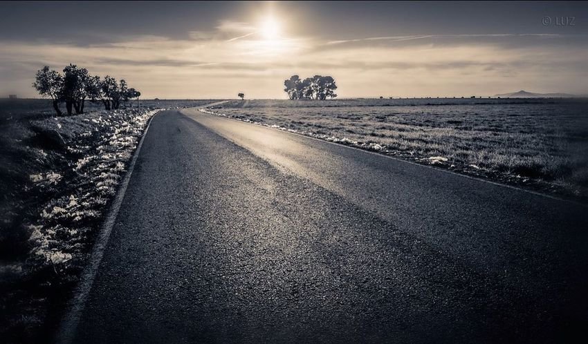 On the road. Blackandwhite On The Road Landscape_Collection Photo