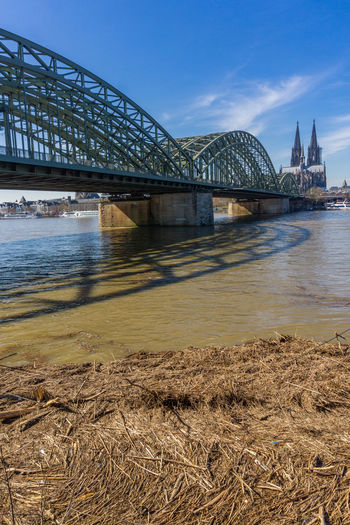 View of the Rhine River, The Hohenzollern Bridge, The Cologne Cathedral and driftwood at high water level in Cologne Germany in 2019. Motion Arch Engineering Driftwood History Travel Arch Bridge Tower Outdoors No People Day Building Exterior Travel Destinations Transportation Connection Built Structure Bridge - Man Made Structure Sky Blue Nature Landscape Landmark View City Urban Architecture Springtime March Sunny Weather Shadow Cologne Cathedral Hohenzollern  Bridge Europe European  Germany Cologne River Riverside Wood Wood - Material Waterfront Water High Water Flood Drift Wood  Destination