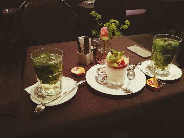 Food And Drink Indoors  Glass Shan's Bistro Berlin Mitte Fresh Panacotta Freshminttea First Eyeem Photo