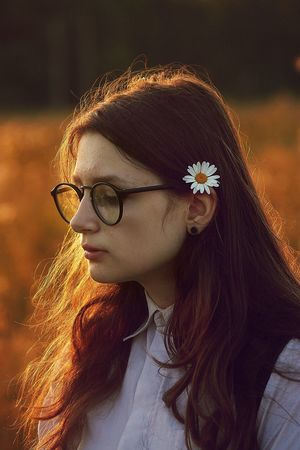 Russia Portrait One Person Young Adult Eyeglasses  Real People Young Women Flower Focus On Foreground Wearing Flowers Redhead Outdoors Close-up Day People