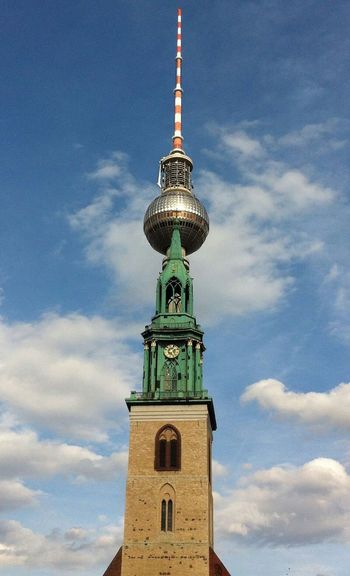 Low Angle View Of St Mary Church Against Fernsehturm