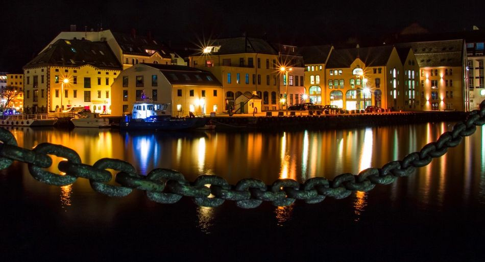 Illuminated Night Reflection Building Exterior Architecture Built Structure Water House No People Outdoors Sky Ålesund, Norway Travel Destinations Sea Harbor Light And Shadow Eye4photography  Relaxing