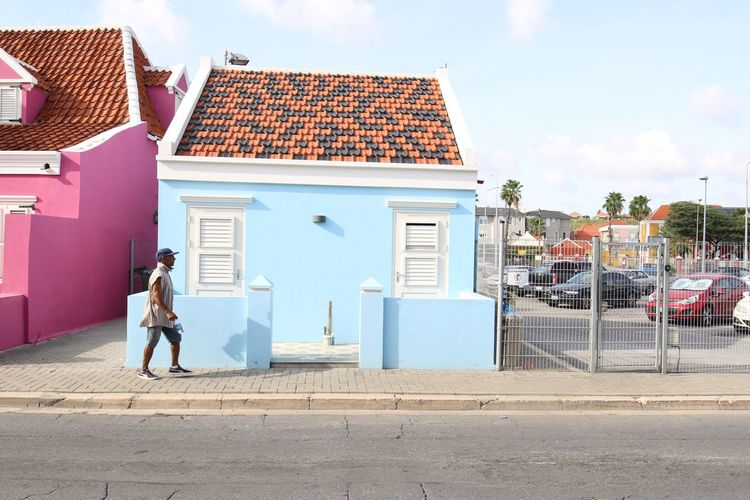 Architecture Blue House Building Exterior Built Structure Day House One Person Outdoors Pietermaai District Punda Sky
