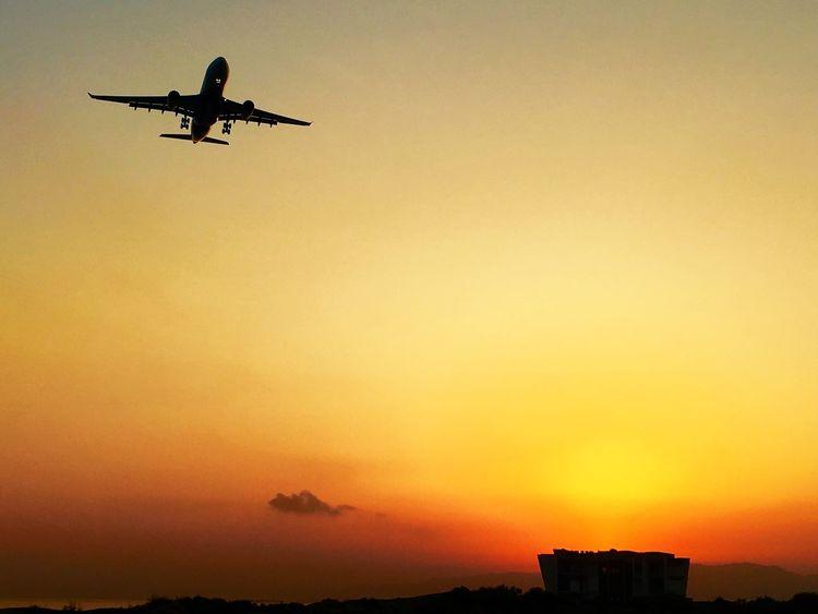 Landing Sunrise Silhouette Golden Light Airbus A330 Muscat International Airport Oman Air Visit Oman Muscat , Oman The Traveler - 2018 EyeEm Awards