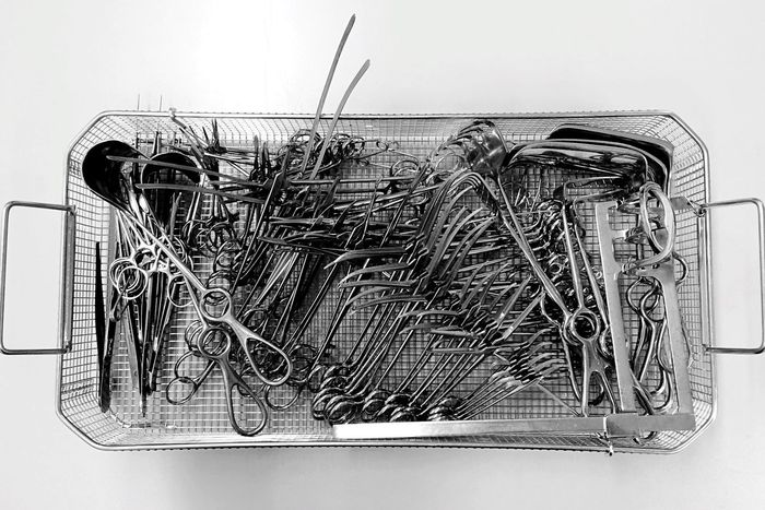 .::Tools of the Trade...Christos Necropsy::. Surgery Surgical Instruments Black And White Excellence Blackandwhite Intense Nothingness Harshlight Operation Room Operation Surgeon Death Life Tools Tools Of The Trade Carcass Stainless Steel  Steel Basket Blood Infection
