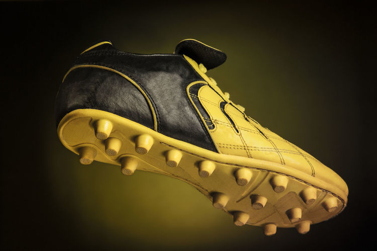 Black Cleats Competition Football Footwear Isolated Leather Rubber Shoe Single Soccer Sport Yellow