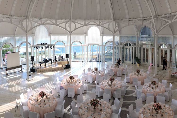Location Petersberg Rotunde Hotel Wedding Architecture Indoors  Seat Built Structure Table Chair Architectural Column Large Group Of People Restaurant Day Luxury Crowd White Color Building