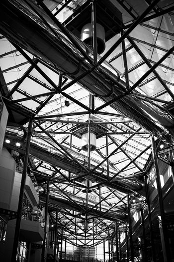 frame work . Built Structure Low Angle View Architecture Ceiling Indoors  Metal No People Day Pattern Architectural Feature Industry Modern Transparent Glass - Material Full Frame Roof Skylight Design City Girder Roof Beam Architecture And Art Alloy Wide Angle Looking Up Black And White Black And White Photography Black And White Collection  My Best Photo