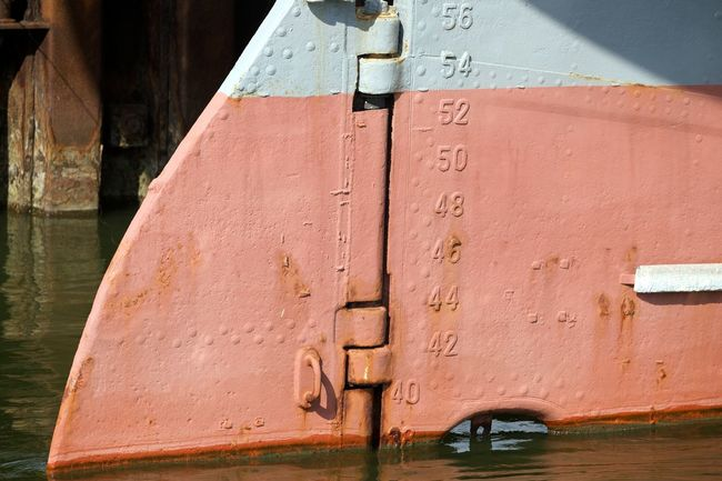 Scale  Built Structure Close-up Day Metal No People Outdoors Ships Hull Water Water Level Indicator Waterfront