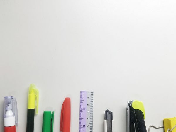 Indoors  Copy Space Variation Business Finance And Industry Multi Colored No People White Background Close-up Day One Man Only Color Office Only MenOffice Tools Pencil Tools Backgrounds White Background Indoors White Color Finance Pen No Person Tool Kit Communication High Angle View