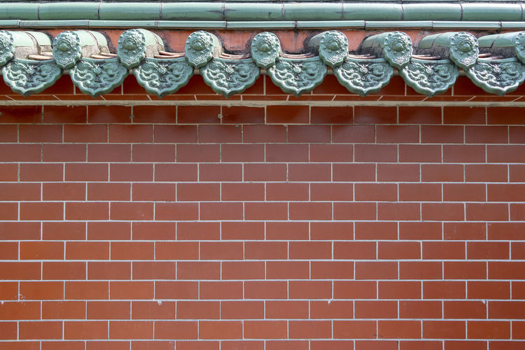 beauty classic Chinese cultural design space of green and red brick color use as background work Building Outdoors Low Angle View Full Frame Roof Tile Wall - Building Feature Brick Building Exterior Wall No People Architecture Built Structure Brick Wall Art And Craft Repetition Pattern