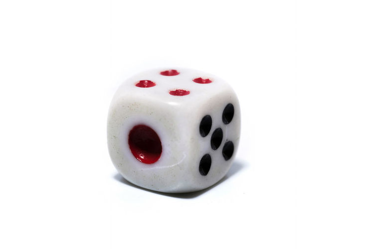 Rolling White dice isolated on white background Arts Culture And Entertainment Close-up Copy Space Cut Out Dice Food And Drink Gambling High Angle View Indoors  Leisure Games Luck No People Opportunity Red Relaxation Single Object Still Life Studio Shot White Background White Color