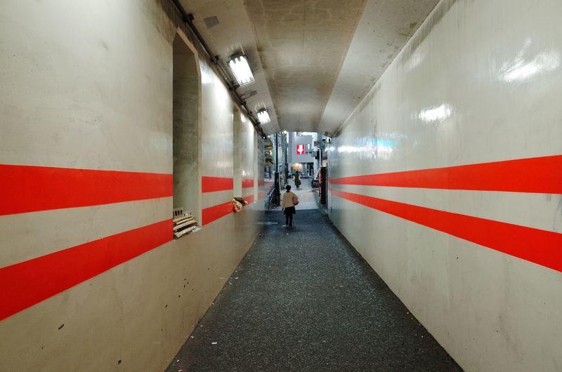 Woman walking in subway