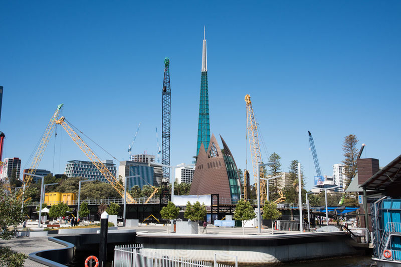 Perth,WA,Australia-November 16,2016: Swan Bell Tower and construction cranes in downtown Perth, Western Australia Architecture Bell Tower Blue Building Exterior Built Structure Change City City Cityscape Construction Construction Site Crane Development Equipment Industrial Landmark Nature Outdoors Renovation Sky Spire  Swan Bell Tower Tourist Attraction  Tower Urban Skyline