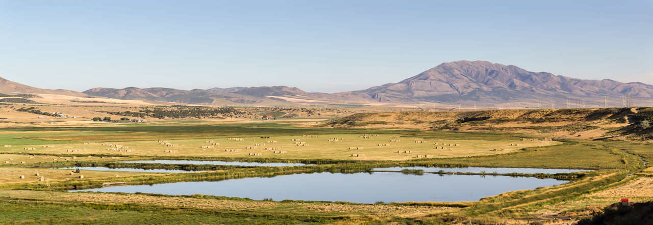 Farm Farmland Panorama Panoramic Beauty In Nature Clear Sky Countryside Idaho Irrigation Lake Landscape Landscapes Mountain Nature No People Outdoors Panoramic Landscape Scenics Sky Water