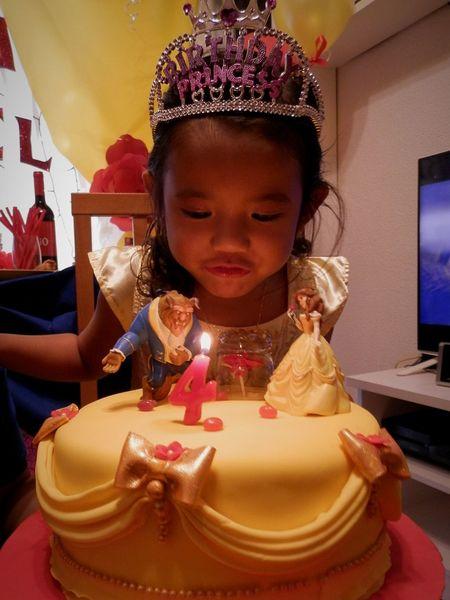 Sofia's 4th birthday. Cake Candle Celebration Indoors  Child Happiness Childhood Birthday Cake Food Sweet Food