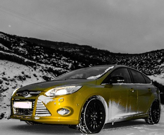 Ford focus snow Ford Car Car Snow Snow Car Yellow Coche Nieve Night Car Night Car Transportation No People Outdoors Sky Close-up Day